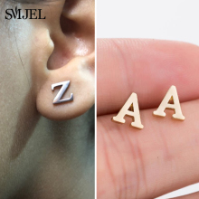 Earring Piercing Jewelry Letter Stainless-Steel Tiny Initial Kids Alphabet-Name Pendientes