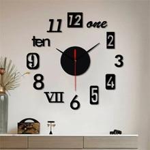 Decorative Wall Clock Watch Modern DIY Mute Clock Home Decor Office 3D Mirror Surface Wall Sticker Clocks Giant Frameless #R20 perfect diy 3d art wall clock decals breaking cracking wall clock sticker office home wall decor gift 15 x15