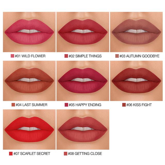 Lipgloss Matte 8 Colors Lip Gloss Velvety Lipstick Liquid Matte Waterproof Lip Tint Full & rich Sexy Lip Makeup Cosmetic
