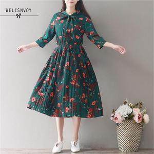 Mori Girl-винтажное зеленое платье с цветочным принтом и рукавами три четверти в японском стиле с бантом на воротнике, эластичная талия и Плисси...