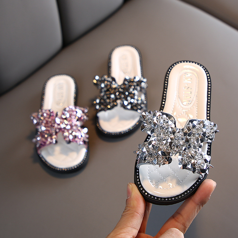 Children's Slippers 2020 Summer New Girls Sandals Slippers Girls Baby Rhinestone Princess Open Toe Non-slip  Kids Beach Shoes