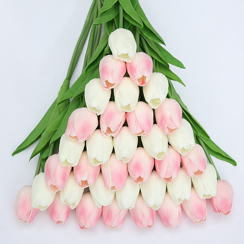 31 Pieces/lots Artificial  Tulip Flower Real Touch Wedding flower Bouquet artificial Silk flowers for Home decoration party