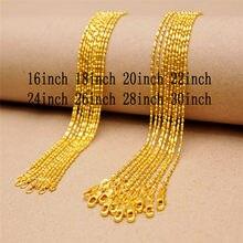 5 pçs feminino alta jóias 1.2mm 18 k ouro coluna bola corrente colar charme colar de ouro 16