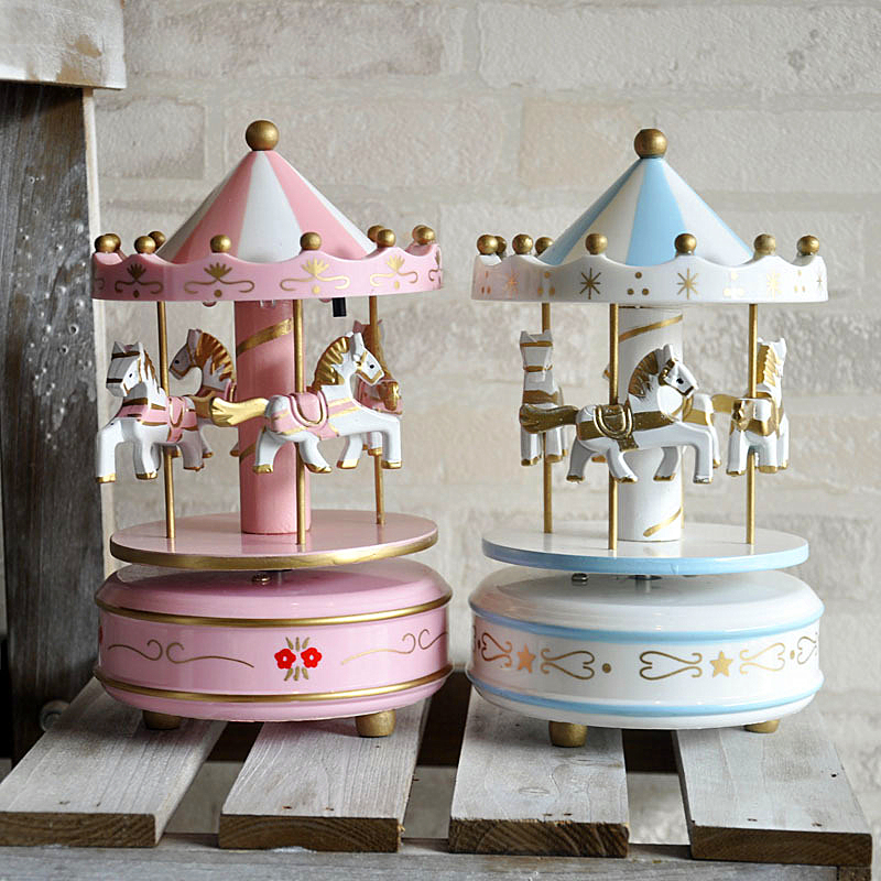Music boxes Merry-go-round  Geometric Music baby room decoration Gifts Unisex Wooden Christmas Horse Carousel Box gift