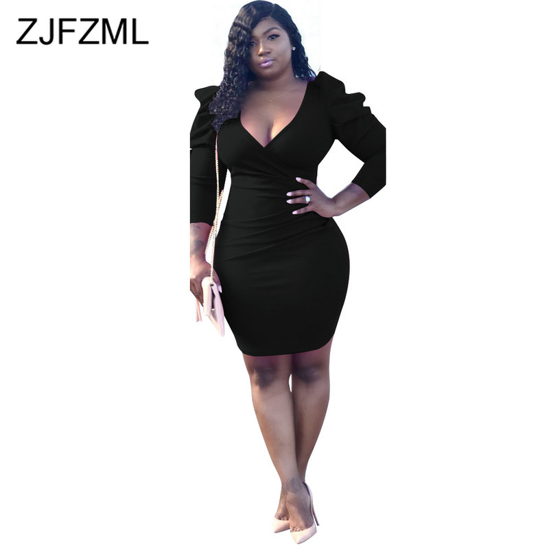 Puff Sleeve <font><b>Sexy</b></font> Plus Size <font><b>Dresses</b></font> Women Deep V Neck Three Quarter Sleeve <font><b>Bodycon</b></font> <font><b>Dress</b></font> <font><b>2018</b></font> Fall Rose Red Mini Vestido De Festa image