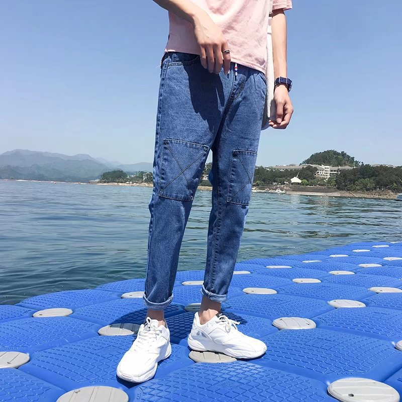 2018 Summer New Style Men Thin Jeans BOY'S Skinny Pants Solid Color Pants Men's Korean-style Harem Capri Pants