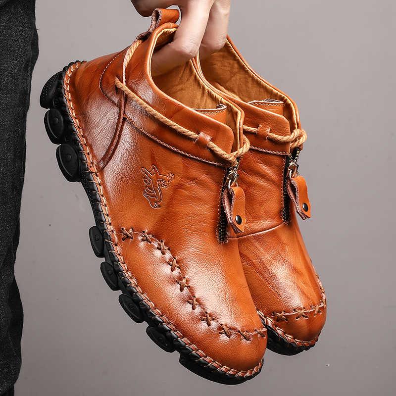 Nieuwe mannen Laarzen Hoge Kwaliteit Leer Winter Hoge Mannen Enkellaars Zachte Comfortabele Schoenen Lichtgewicht Sneeuw Sneakers Big Size 48