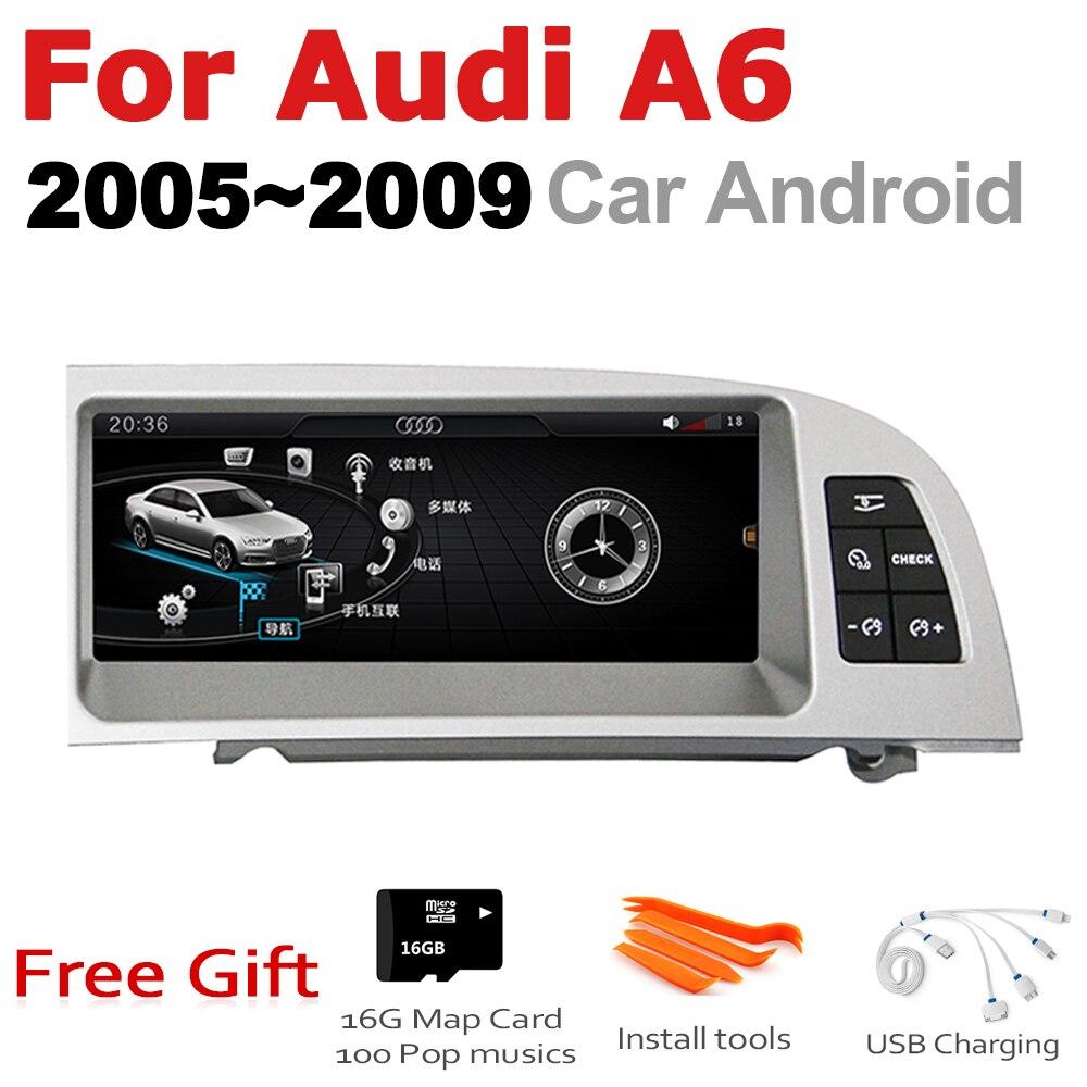 Autoradio 2 din GPS Android Navigation pour Audi A6 4F 2005 ~ 2009 MMI AUX stéréo multimédia écran tactile style d'origine Radio