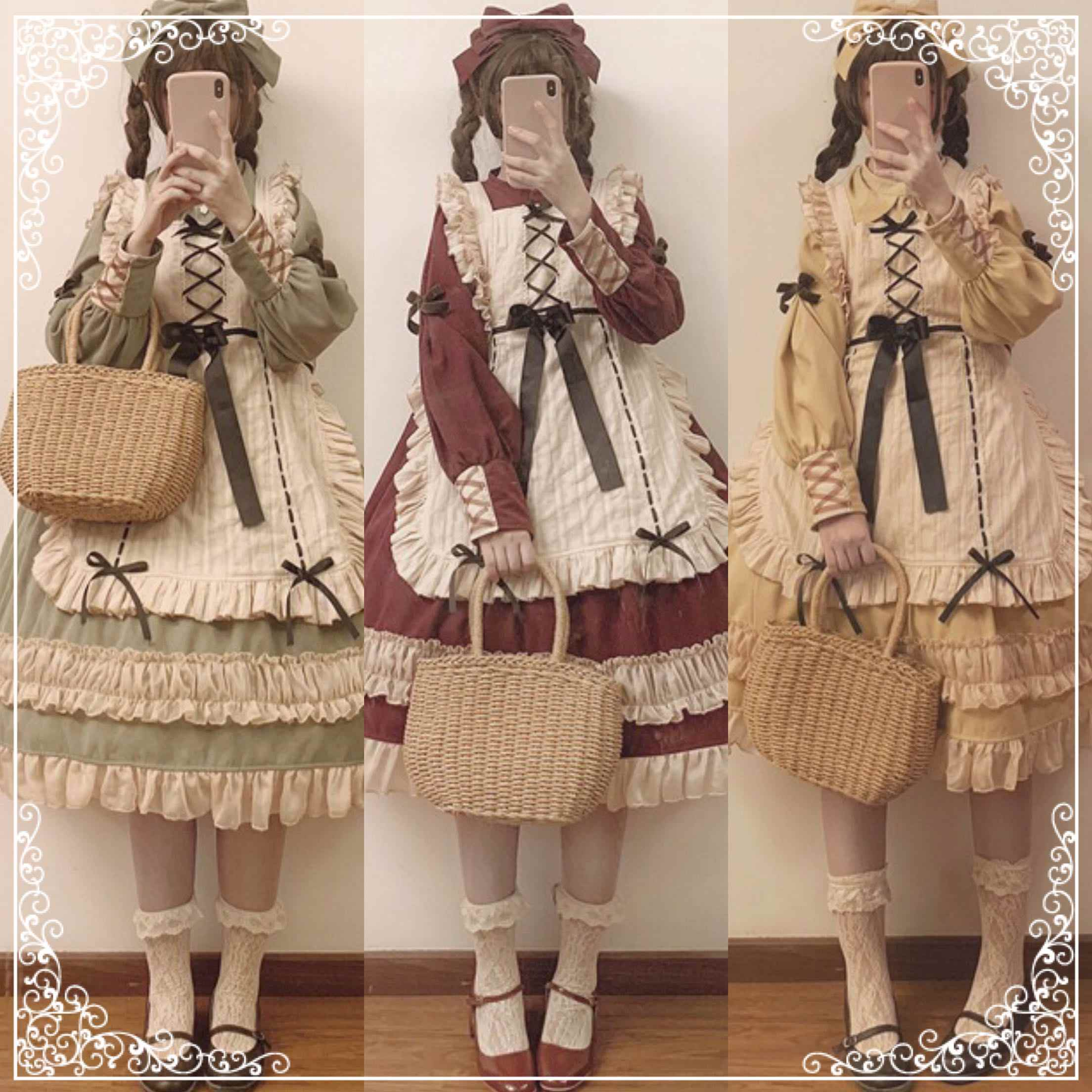 Japanese sweet lolita dress vintage bandage lace bowknot peter pan collar victorian dress kawaii girl gothic lolita op loli cos
