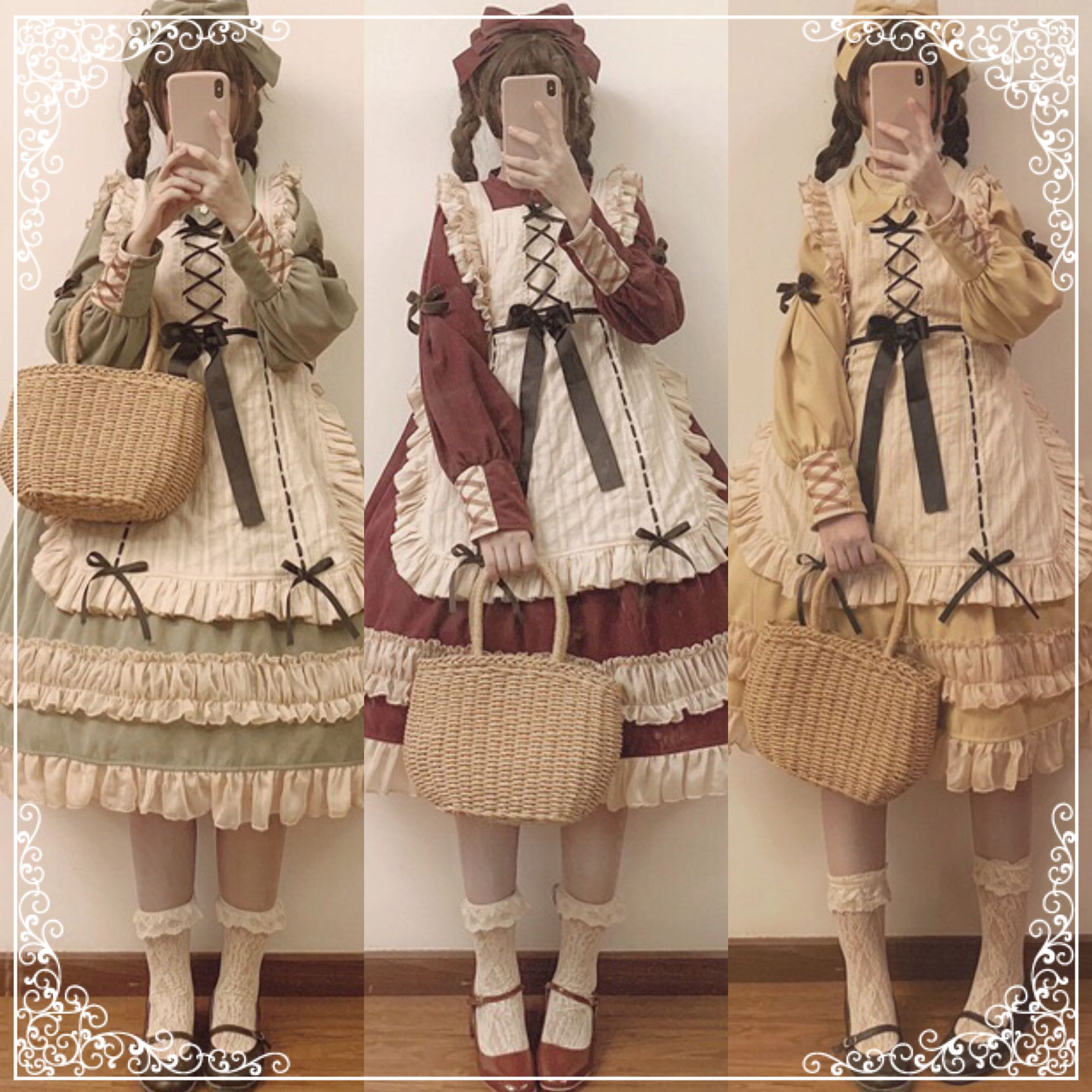 Japanese Sweet Lolita Dress Vintage Bandage Lace Bowknot Peter Pan Collar Victorian Dress Kawaii Girl Gothic Lolita Op Loli Cos