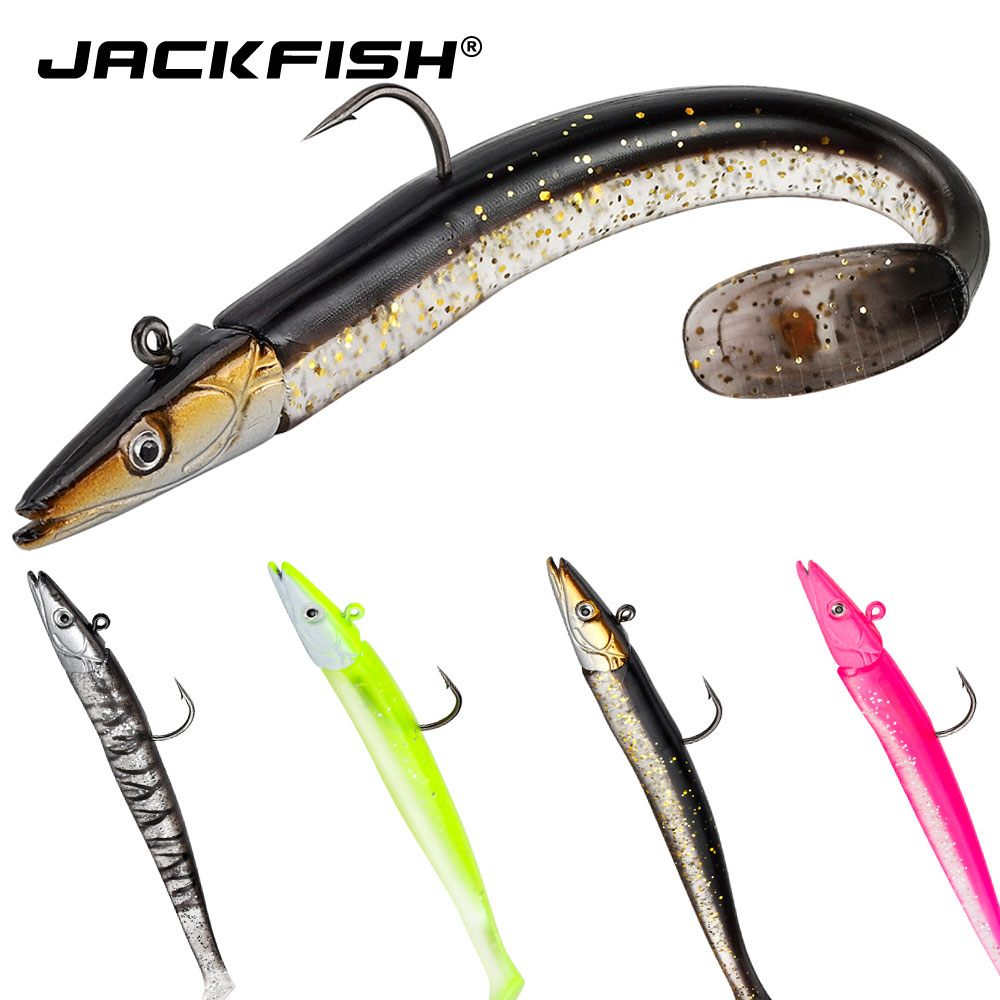 JACKFISH 10g/15g/22g Lead Jig Head Glow Soft Lure Soft Bait With Fishing Hook Swimbaits Fishing Tackle Pesca Soft Fishing Lure