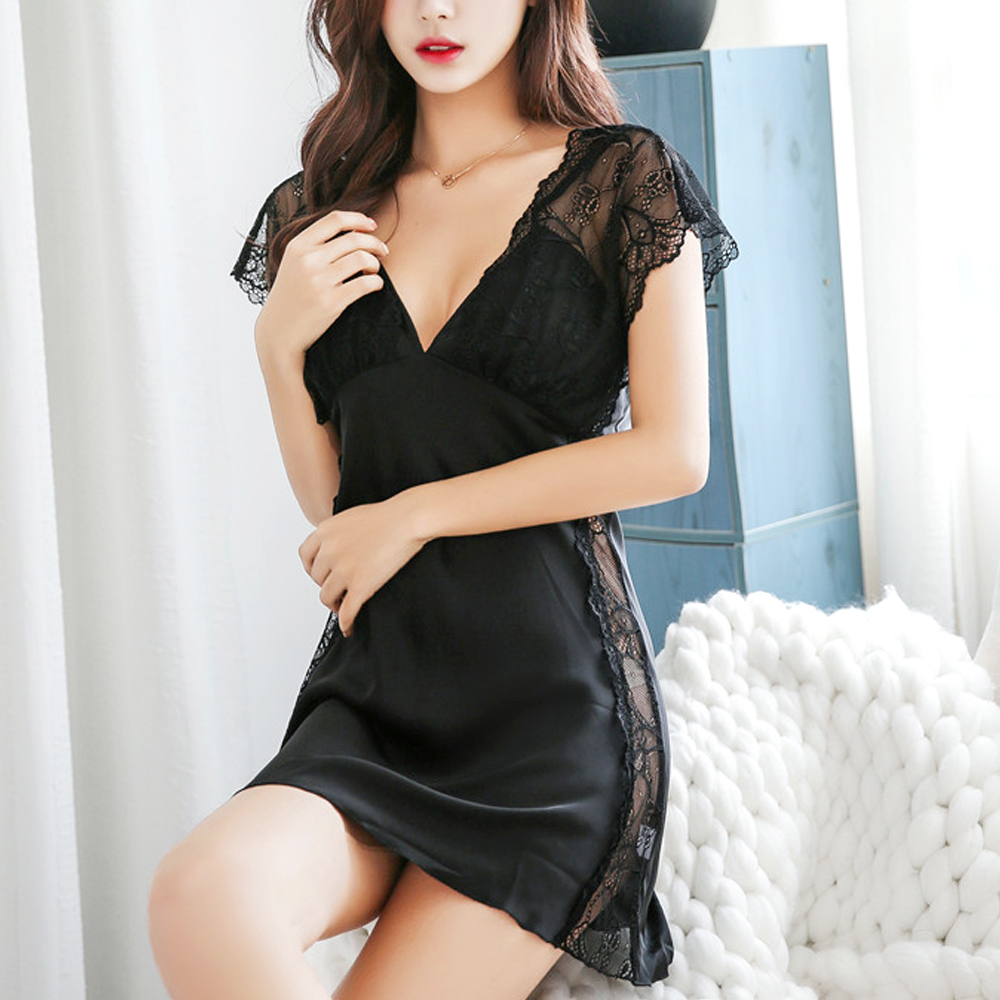 Lace Sexy Sleepwear Women Yarn Sling Nightgown Lingerie  Bathrobe Female Summer Nightdress Babydoll Nightwear Night Gown
