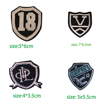 Fashion Knight medal shield totem letter V icon Embroidered Applique Patches for Clothing DIY Iron on Badge on the Backpack image