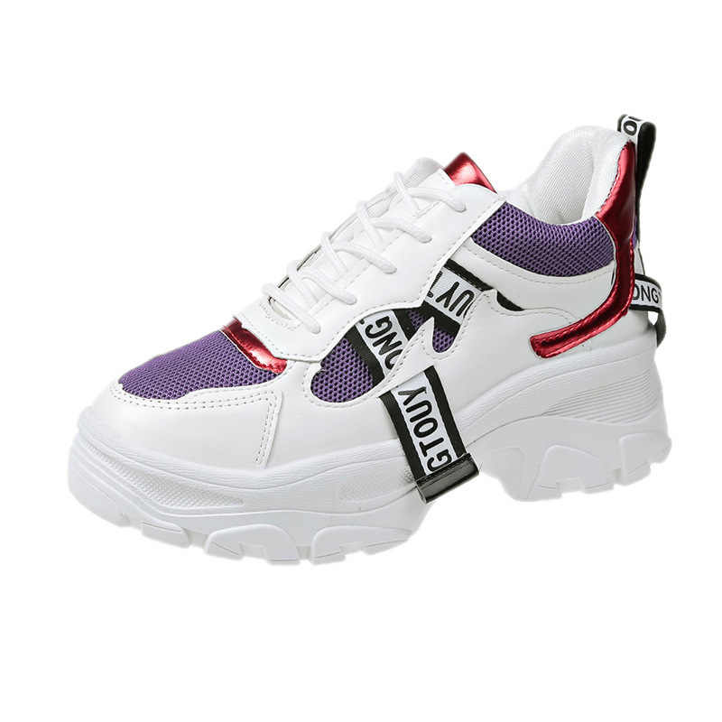 Zapatos vulcanizados de mujer para otoño y verano, zapatillas informales resistentes al desgaste transpirables, zapatillas de plataforma deportivas de malla 2020 para mujer VT839