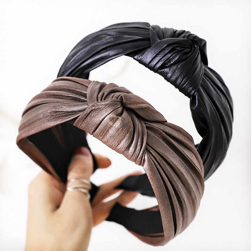 Women/'s Knot Headband PU Leather Tie Hairbands Hair Band Hoop Accessories Party
