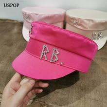 USPOP New satin diamond letter newsboy caps women flat militray caps S M L