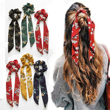 Women Tiara Satin Ribbon Bow Hair Band Rope Scrunchie Ponytail Holder Gum For Accessories Hairstyle Girl Headbands