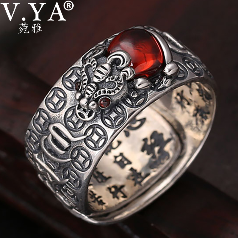 V.YA Pure 925 Silver Tibetan Six Words Proverb Ring Good Luck Wealth Pixiu Ring for Men Women Lucky Jewelry|Rings|   - AliExpress