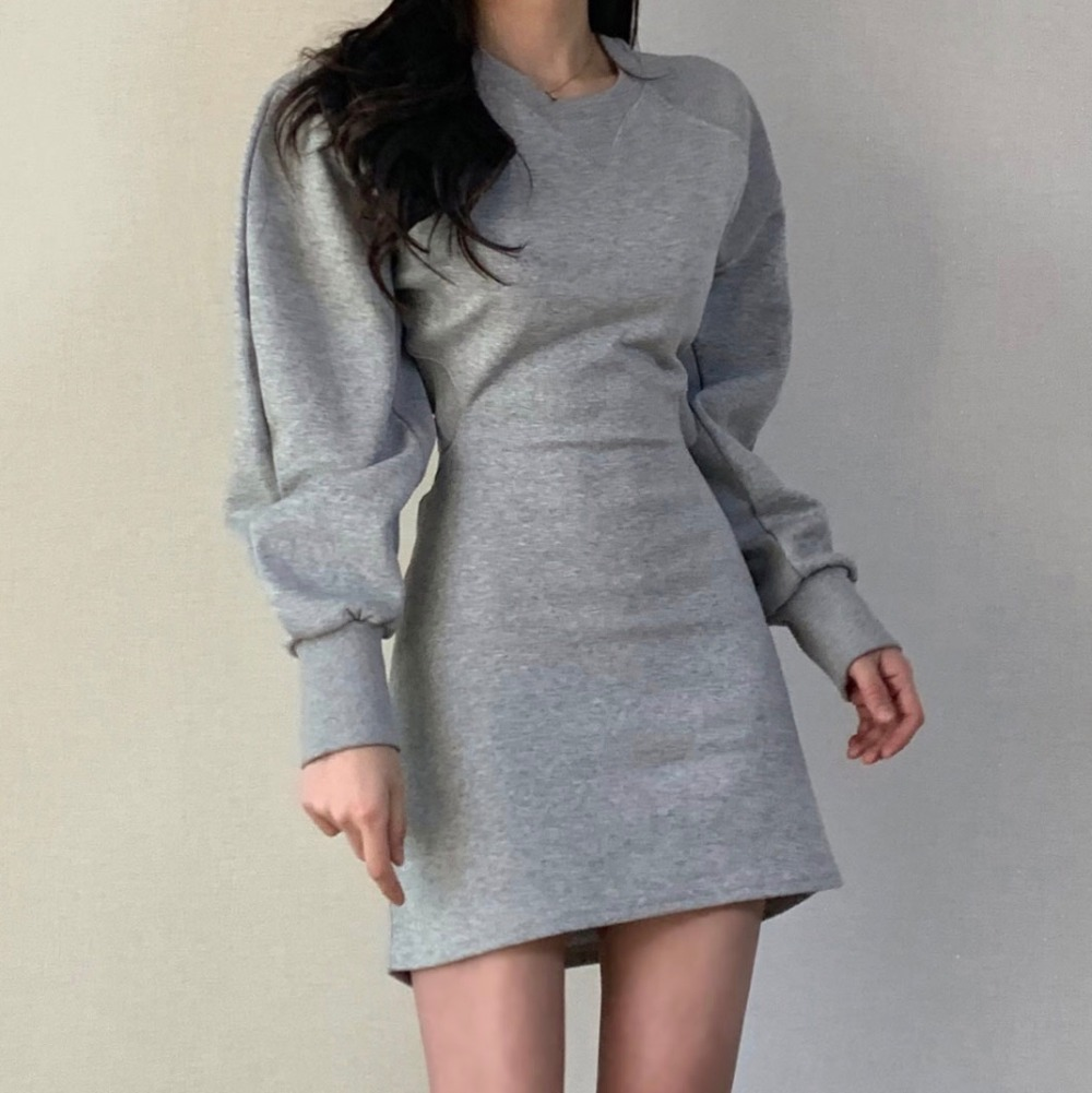 Hee1eccfcc7e14f218d5c366b8d10aa214 - Autumn O-Neck Long Sleeves Solid Backless Minimalist Mini Dress