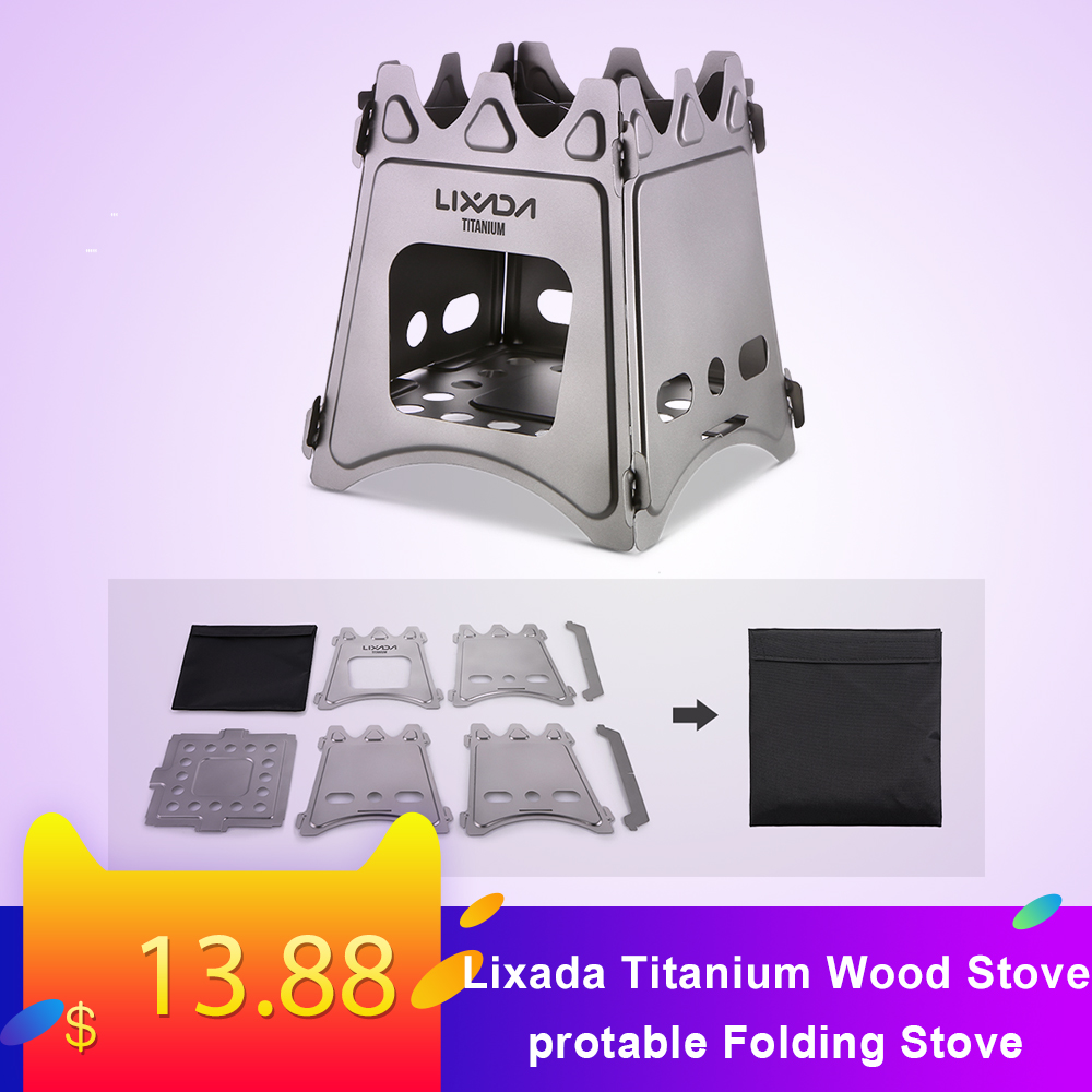 Lixada Titanium Wood Stove Compact Folding Wood Stove for Outdoor Camping Cooking Picnic Backpacking Firewood camping Stove