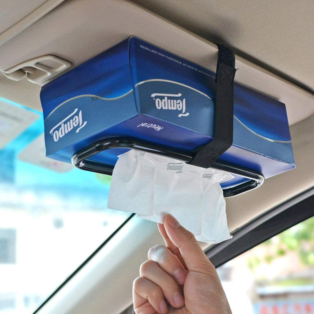 Huihom Universal Sun Visor Tissue Box Fasten Holder Seat Back Headrest Hanging Tissue Box Wipes Holder For Auto Accessories