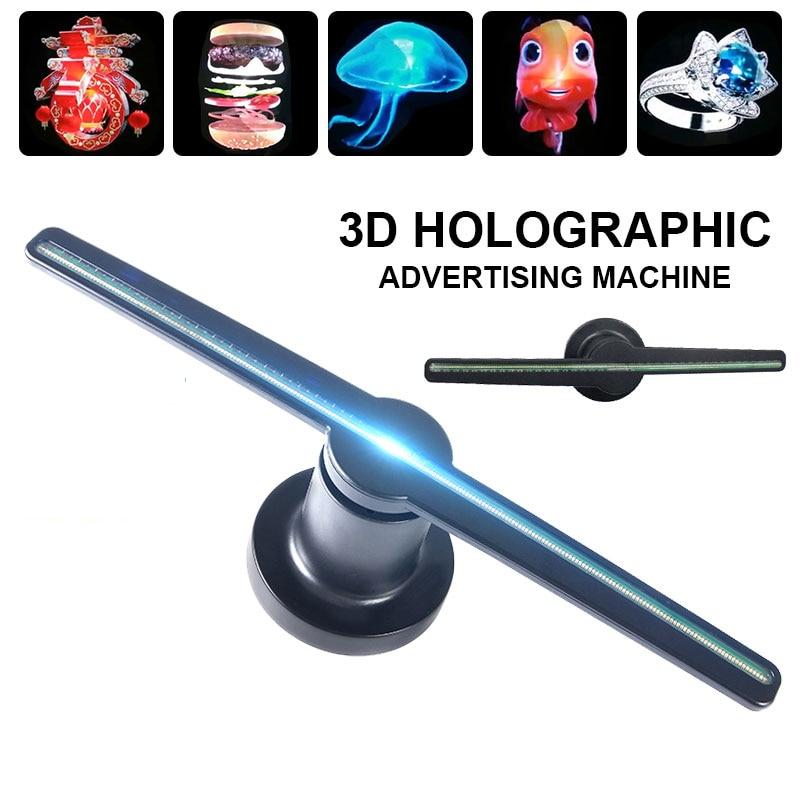 Proyector de holograma 3D, pantalla publicitaria, lámpara LED de imagen holográfica, pantalla LED 3d remota, logo publicitario, Luz