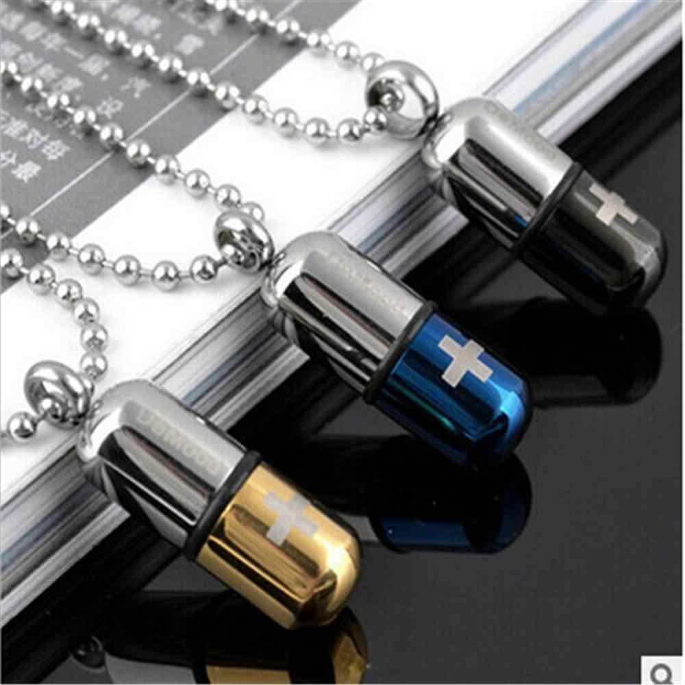 new fashion Cool Men's Punk Open Capsule Necklace Perfume Bottle Pill Cross Stainless Steel Pendants Chain For Women Gift