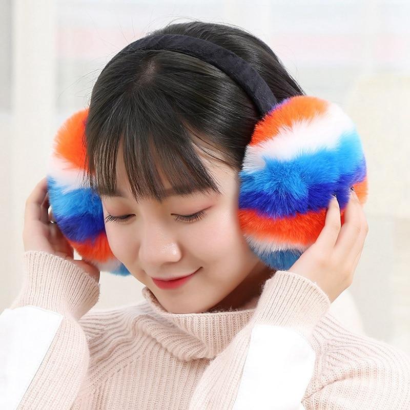 Lovely Rainbow Earmuffs Female New Imitating Rabbit Hair Warm Accessories Autumn Winter High Quality Plush Fashionable Earmuffs