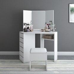 Panana, современный угловой туалетный столик, макияж, изогнутое зеркало со стулом, форма для дома, рабочий стол, быстрая доставка