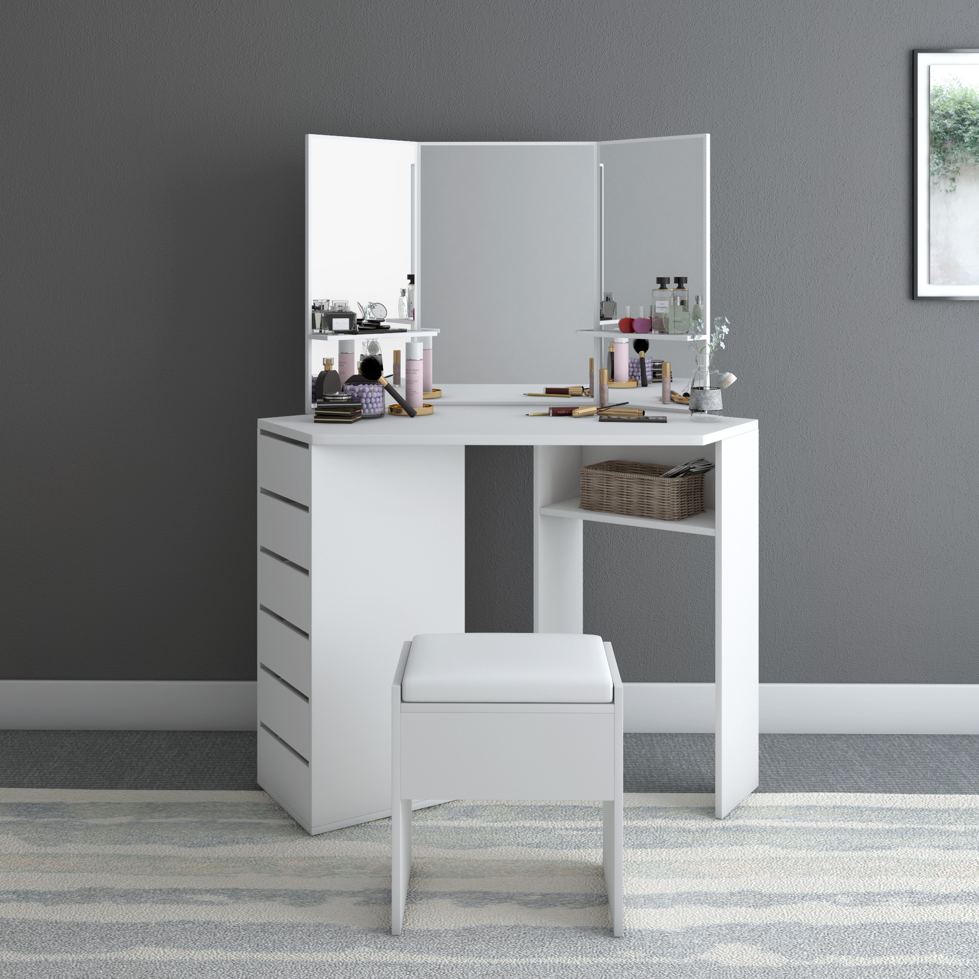 Panana Modern Corner Dressing Table Makeup Curved Mirror With Stool Shape Home Working Wtudy Desk