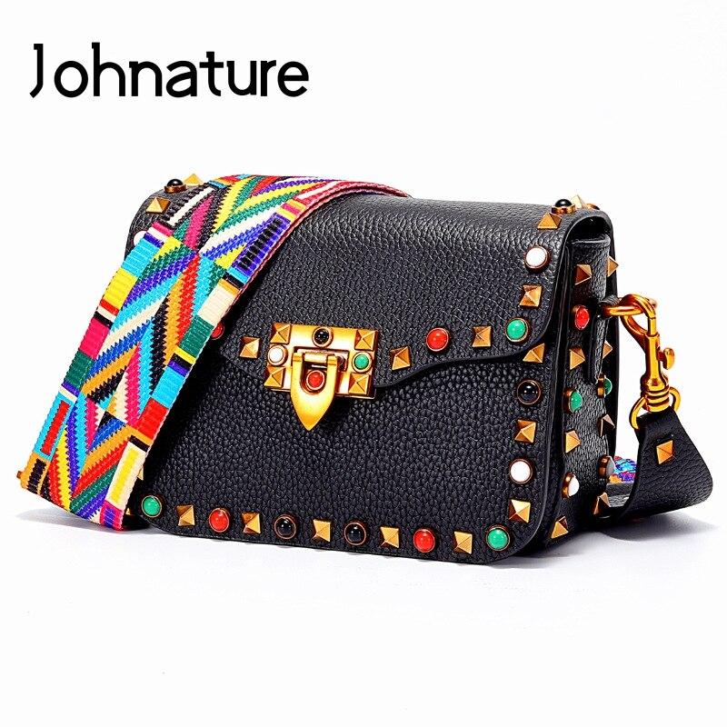 Johnature Fashion Rivet Small Women Bag 2020 New First Layer Cowhide Shoulder Bags Vintage Lock Bag Cow Leather Messenger Bag