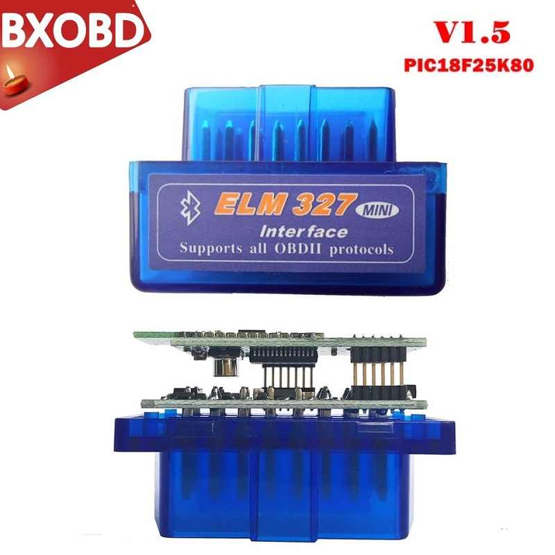 Mini ELM327 Adapter Bluetooth OBD2 ELM327 V1.5 PIC18F25K80 ELM327 Bluetooth V1.5 ELM327 OBD2 Máy Quét ELM327 BT Cho Android/PC