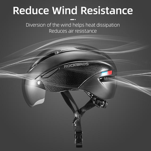 Rockbros capacete de bicicleta dos homens eps integralmente-moldado respirável ciclismo capacete feminino óculos lente aero mtb estrada capacete de segurança 1