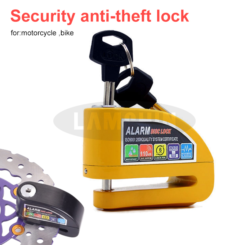 Motorcycle Bike Lock Security Anti-Theft Lock  Disc Brake Lock With Bag Reminder Rope Waterproof Electromobile Alarm Lock
