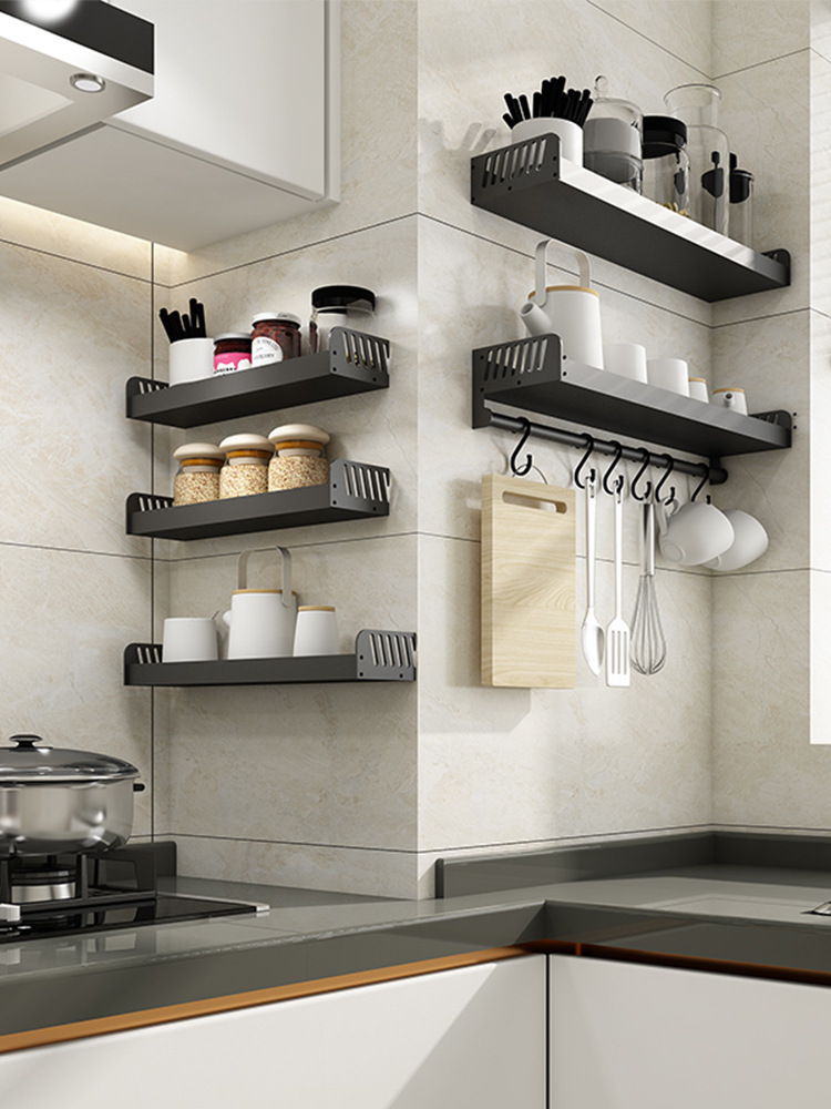 Hole-Punched Kitchen Shelves Wall Hangers Seasoning Shelf Spices Storage Rack Knife Rest Pot Cover Holder Storage Rack