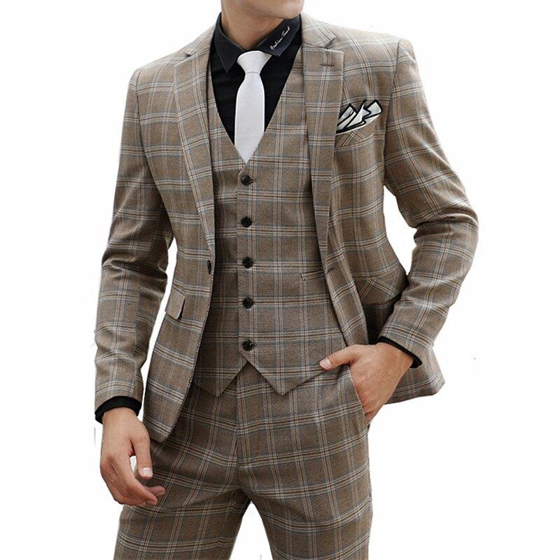 Men's Suit Three-Piece Casual Plaid Slim Groom Handsome Wedding (Jacket Pants Vest) Fashion Trend Banquet Boutique Suit