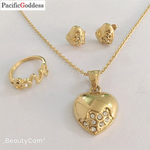 letter heart sharp stainless steel jewelry gold set