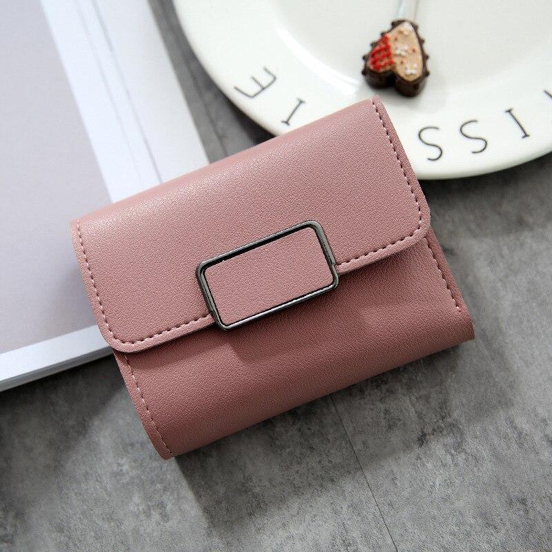 Женские кошельки, Маленький модный брендовый кожаный кошелек для женщин, женская сумка для карт, клатч, Женский кошелек, кошелек с зажимом для денег - Цвет: Square-DarkPink