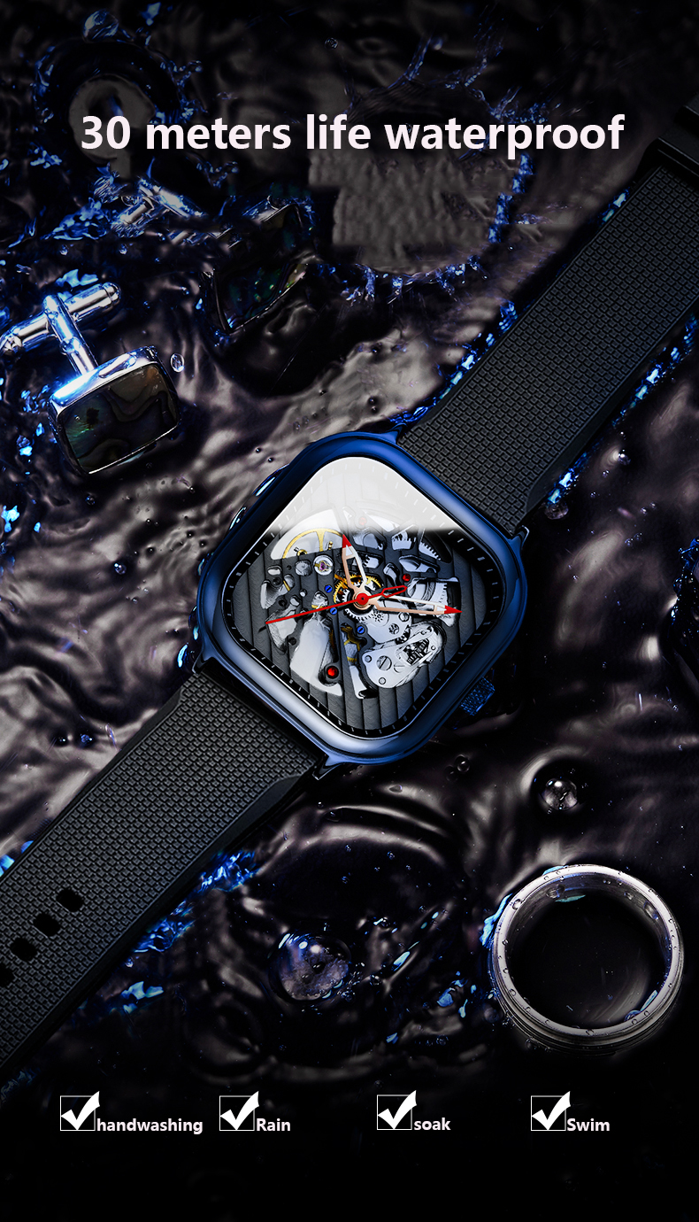Hee1fcb785f7341009d8f29e314f2b092z 2020 new men's automatic watch brand luxury silicone strap hollow Swiss square ten watches
