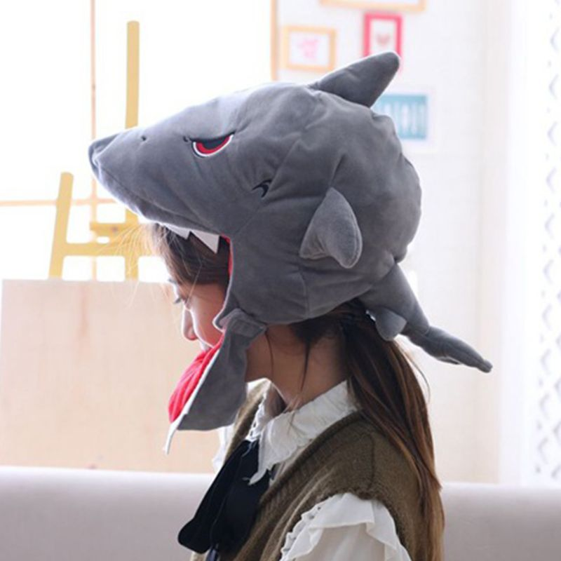 Japanese Cute Plush Shark Funny Animal Cap Mask Adult Kids Halloween Party Cosplay Costume Hood Hat Winter Warm Holiday Props