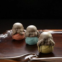 Chinese Color Sand Handmade 3 Not Young Monk Furnishing Articles Tea Pet Buddha Statue A Set 3 Pcs(China)