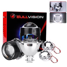Bullvision H4 H7 LED Auto Car Lights Mini HID Lens Angel Eyes 2.5'' Bi-xenon Projector Lenses Retrofit H1 Xenon Lamps Headlight(China)