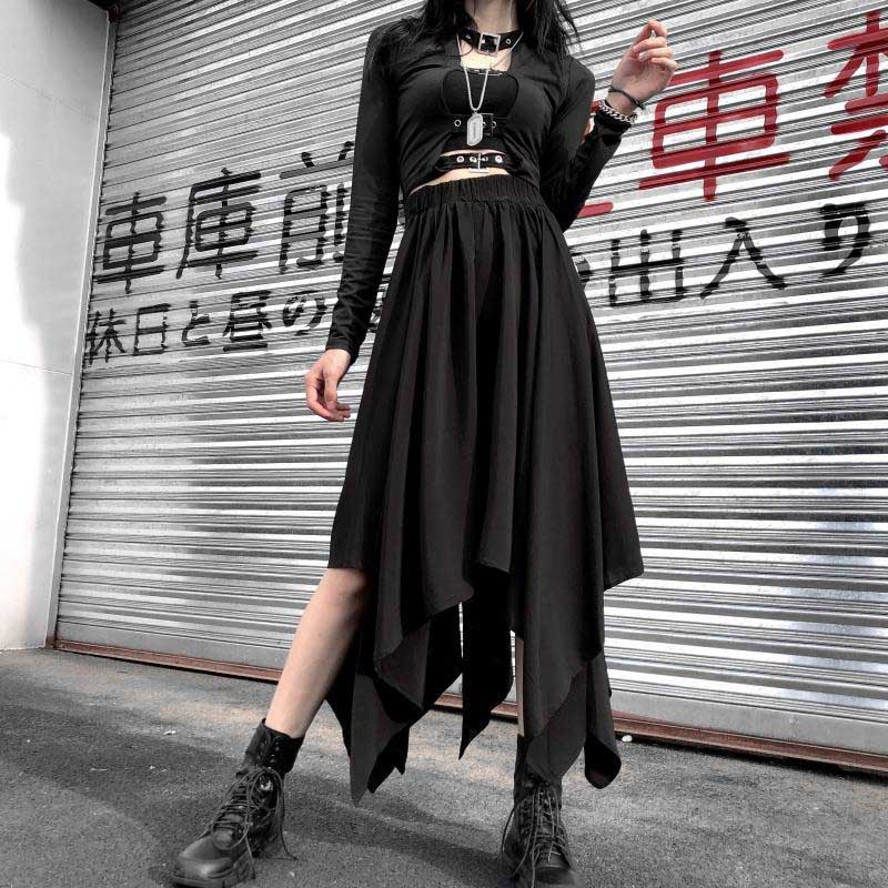 NiceMix Asymmetrical Skirt Black Gothic Autumn Loose Style Women Buttoms Harajuku Steampunk A-line Female Middle Ages Vintage Sk