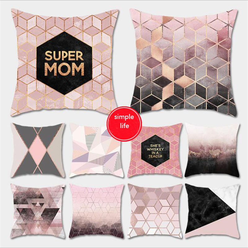 Rose Gold Pink Square 45x45cm Cushion Cover Geometric Dreamlike Pillowcase Polyester Decorative Throw Pillow Cover New