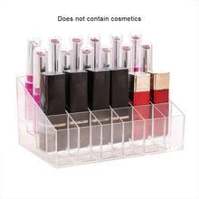 24 Lipstick Display Stand Small Nail Polish Holder Transparent Cosmetic Desktop Storage Box Sample Rack