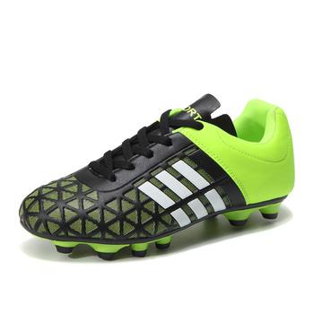 Rozmiar 32-43 buty piłkarskie dla mężczyzn zielone korki dziecięce buty do piłki nożnej Outdoor Man sportowe trampki lekkie męskie korki treningowe tanie i dobre opinie BOJIYUREN Długie Kolce Średnie (b m) Soccer-shoes-1610 RUBBER Lace-up Ptpp Lycra Pasuje prawda na wymiar weź swój normalny rozmiar