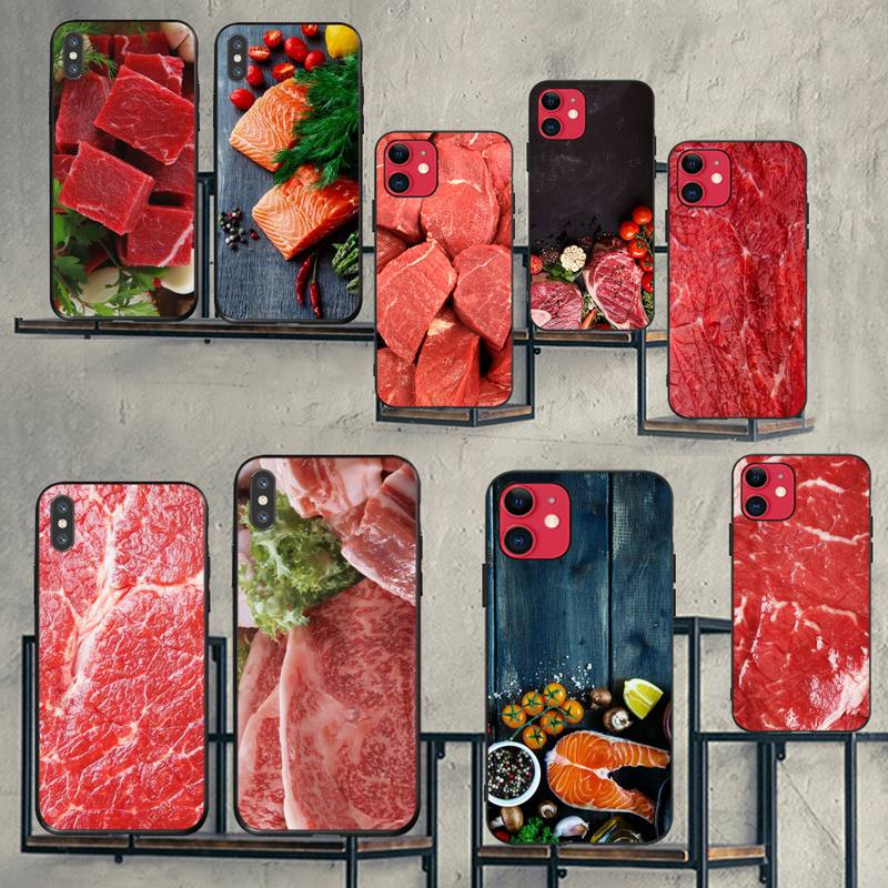 HPCHCJHM Raw meat cover pattern DIY Painted Bling Phone <font><b>Case</b></font> for <font><b>iPhone</b></font> 11 pro XS MAX 8 7 6 6S Plus <font><b>X</b></font> 5S SE 2020 XR <font><b>case</b></font> image