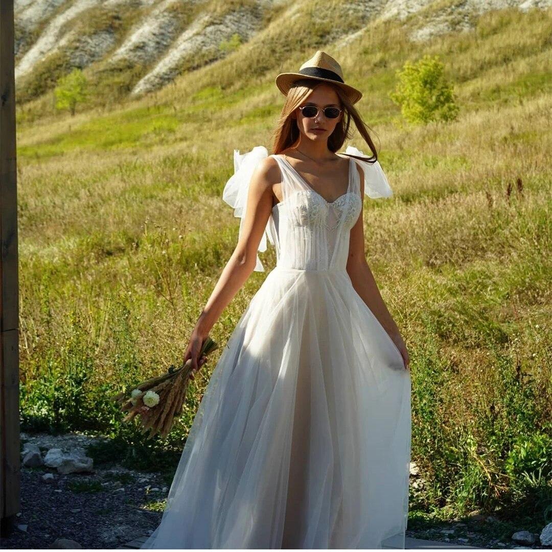 Sexy Boho A line Simple Sweetheart Chiffon Floor Length Bridal Gown Robe De  Mariée Spaghetti Strap Brilliant Wedding Dress 18