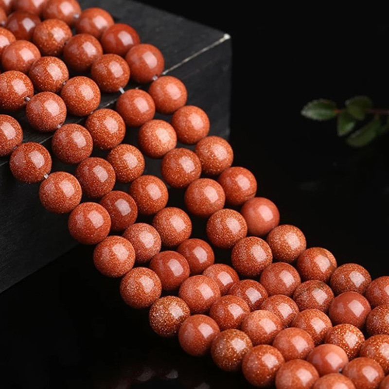 Gold sand ball sandstone crystal polished loose beads DIY jewelry accessories making bead bracelet necklace