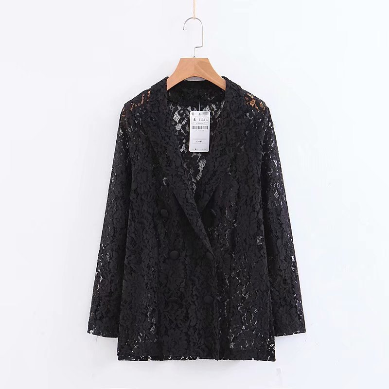 Women Black Long Sleeve Lace Blazer Double Breasted Notched Jacket Coat Hollow Up Casual Outwear
